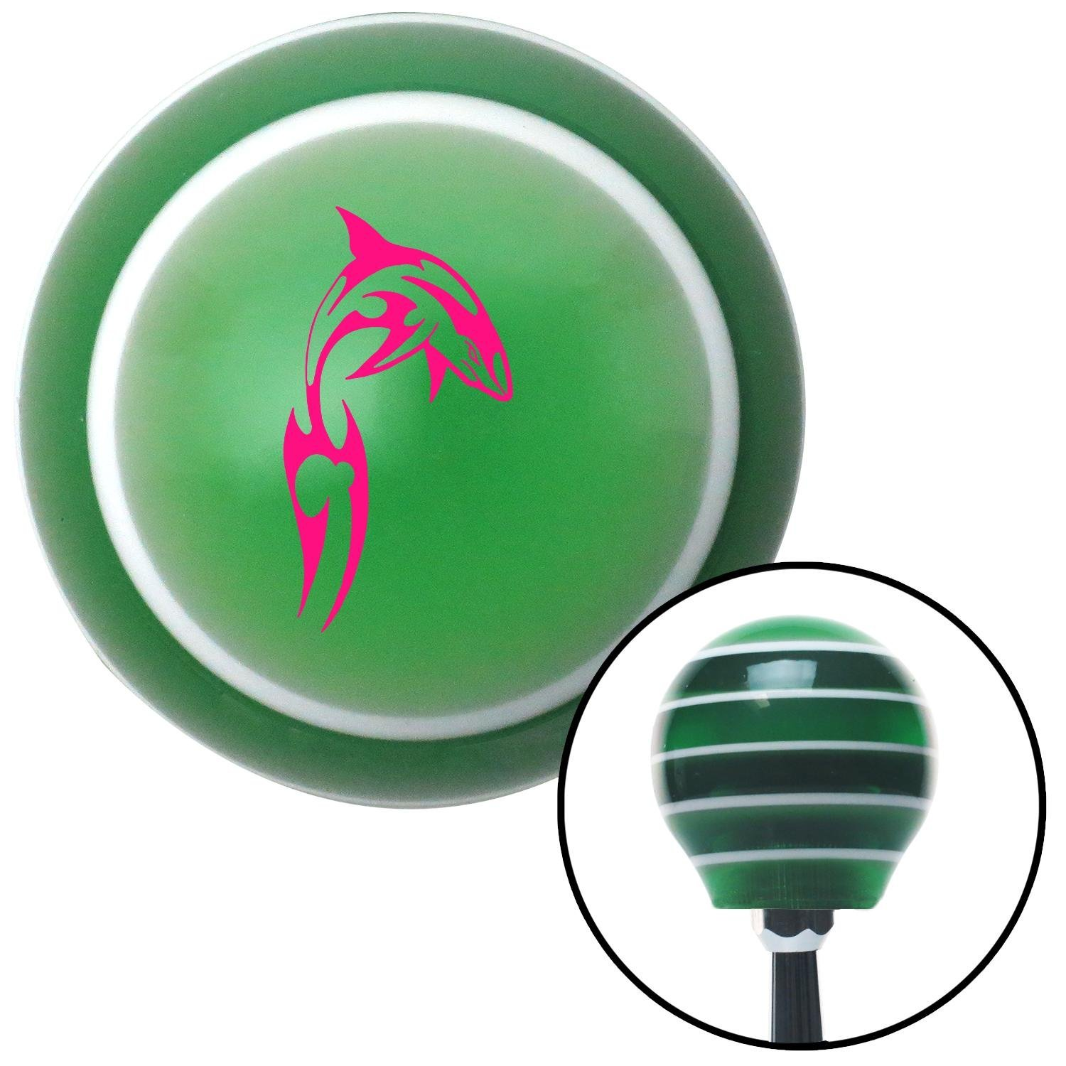 Pink Abstract Shark American Shifter 124311 Green Stripe Shift Knob with M16 x 1.5 Insert
