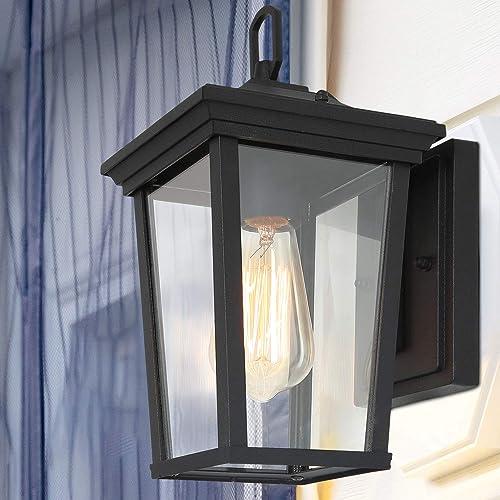 LALUZ Exterior Light Fixtures Farmhouse Wall Mount Lantern Outdoor Sconce