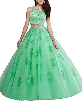 9cb93b5f1cd QiJunGe 2018 Two Piece Lace Appliqued Prom Quinceanera Dress Party Evening  Gown Green US 0