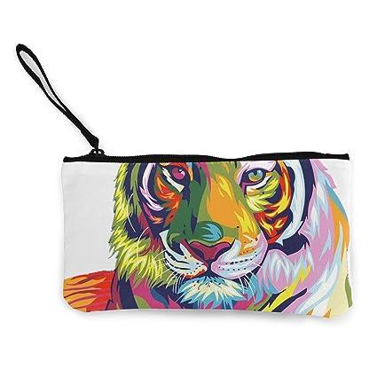 Billetera, Monederos, Canvas Cash Coin Purse,Colorful Tiger ...
