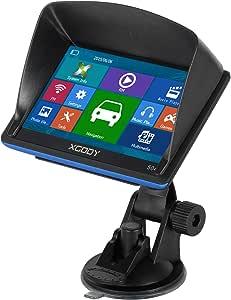 XGODY 504 portátil Coche GPS navegación 5 Pulgadas Sat Nav Pantalla táctil Integrado 8 GB RAM FM MP3 MP4 Mapas de por Vida vehículo navegador con Pantalla de Sol: Amazon.es: Electrónica