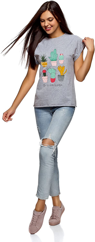 oodji Ultra Mujer Camiseta con Estampado de Verano y Parte Inferior no Elaborada
