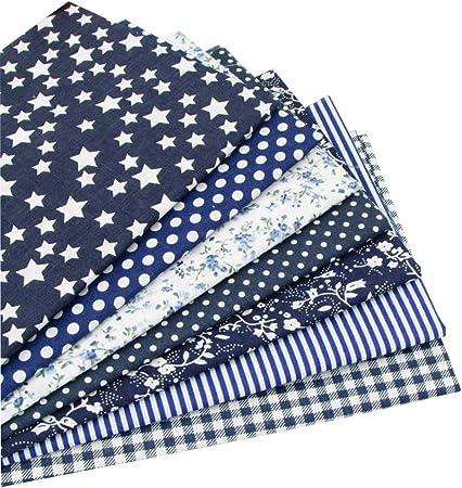 7 piezas 49cm * 49cm tela de algodón azul oscuro para patchwork,telas para hacer patchwork, telas tilda, retales de telas, tela algodon por metros: Amazon.es: Hogar
