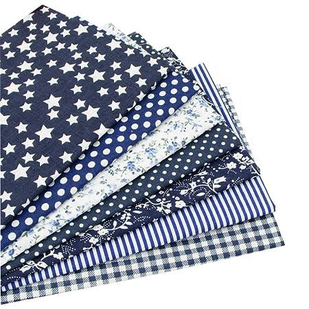 7 piezas 49cm * 49cm tela de algodón azul oscuro para patchwork,telas para hacer patchwork, telas tilda, retales de telas, tela algodon por metros