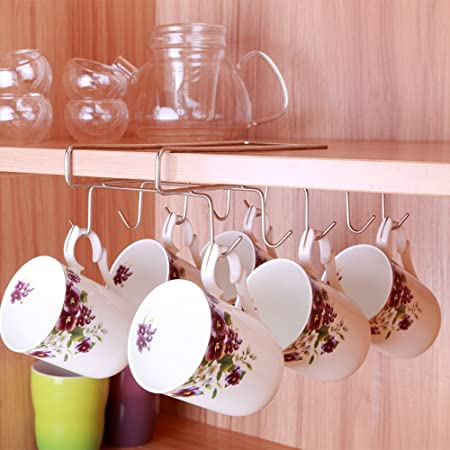 Iron Kitchen Cup Holder Mug Hanger Cabinet Shelf Organizer 10 Hooks Storage Rack