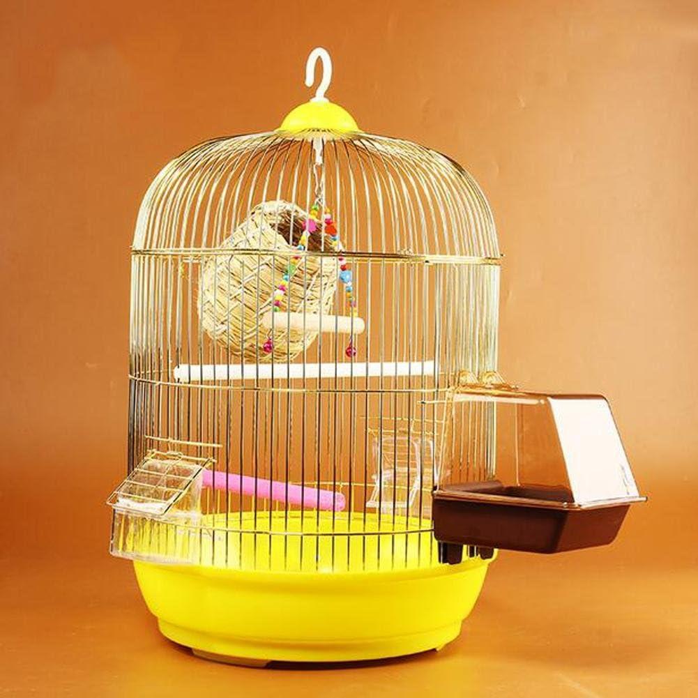 JiaYue Luxury100 De Alta Temperatura De Cromo Enchapado De Metal Jaulas para pájaros Color De Oro Pequeño 33.5x46.5CM, Golden Color, 33.5x46.5CM