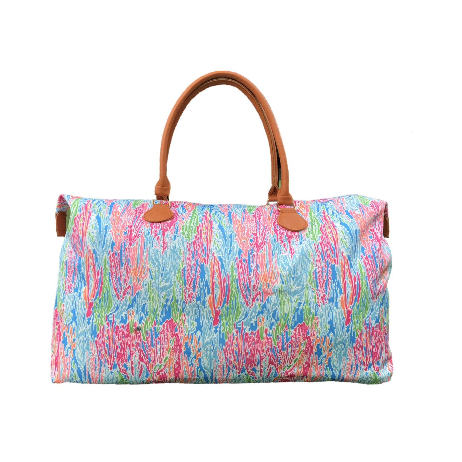 MONOBLANKS Lilly Inspired Print Weekender Bag,Canvas Leather Travel Totes Duffel Bag (Coral)