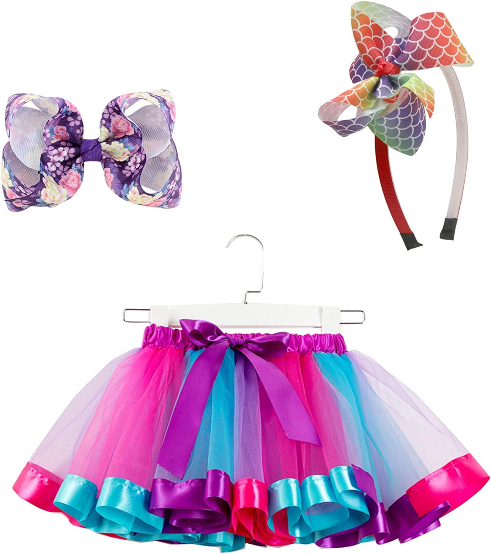 SUNTRADE Girls Layered Rainbow Tutu Skirt for Birthday Party Dress Up