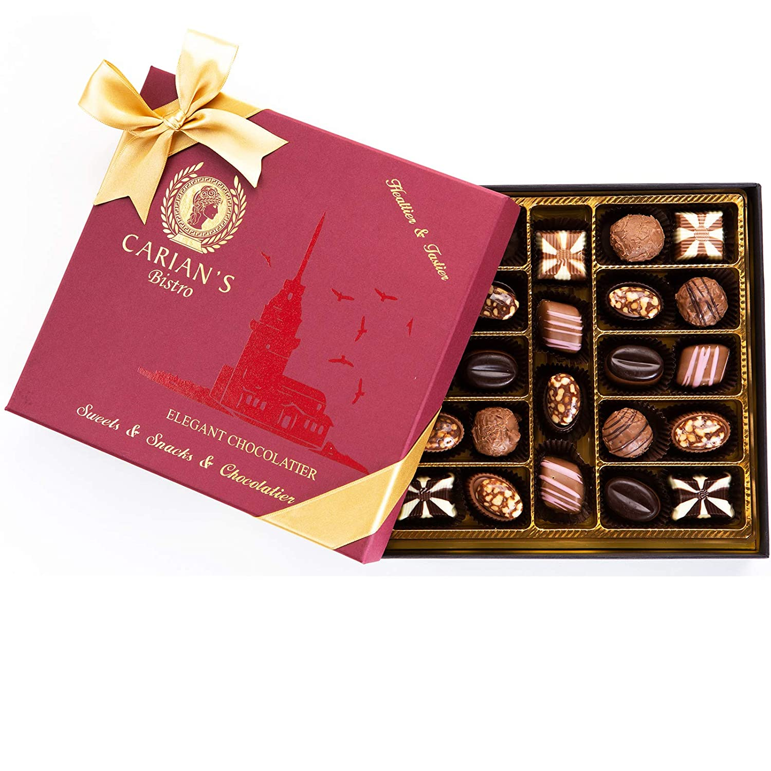 Bistro Chocolate Box Luxury Selection, Premium Assorted Gift for Holiday and Christmas, Gourmet Truffles,Natural and Healthy 71ahJ2B1x2KL