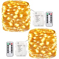 GDEALER 2 Pack 20 Feet 60 Led Fairy Lights Battery Operated with Remote Control Timer