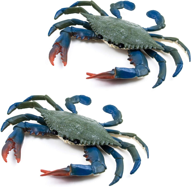 AUEAR, 2 Pcs Artificial Plastic Crabs Sea Animal Sea Life Creatures Decoration (Blue)