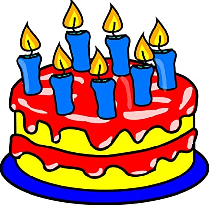 Gifts Delight LAMINATED 24x24 Inches Poster Birthday Cake Candles Child Seven Blue Icing Red Yellow