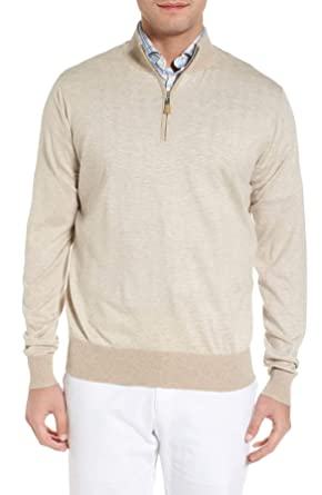 f91cdab9f PETER MILLAR Crown Soft Striped Cotton and Silk Quarter-Zip Sweater ...