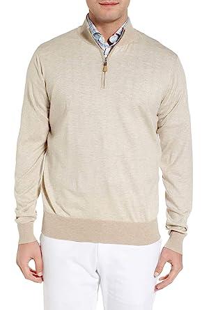 e1165e14d PETER MILLAR Crown Soft Striped Cotton and Silk Quarter-Zip Sweater ...