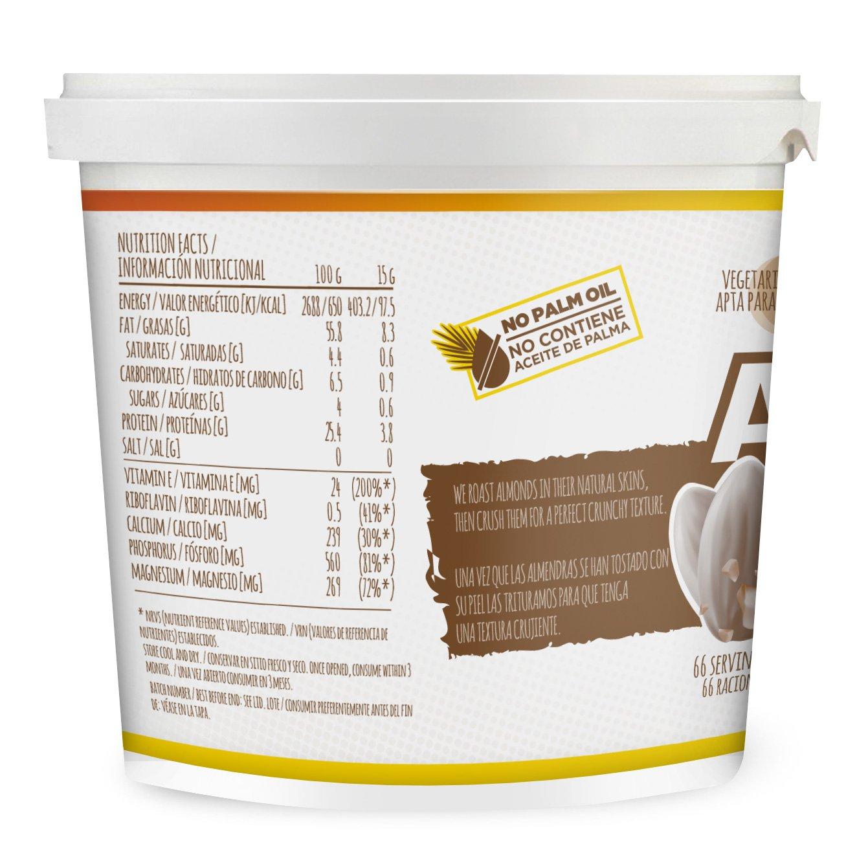 HSN Foods - Mantequilla de Almendras con Textura Crujiente - 100% Natural - Almond Butter Crunchy - Apto Vegetariano - Sin grasa de palma - Sin grasa trans ...