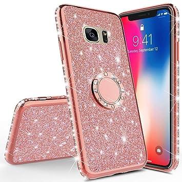 Homikon Silikon H/ülle Kompatibel mit Samsung Galaxy S7 Edge /Überzug TPU Bling Glitzer Strass Diamant Schutzh/ülle mit 360 Grad Ring St/änder Flex Durchsichtig Silikon Handyh/ülle Tasche Case Schwarz