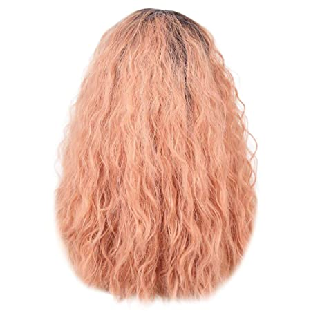 ❤ Modaworld Peluca rizada Mujer Frente de encaje brasileño peluca llena Bob Wave Rosa aspecto natural pelucas de mujer pelucas naturales baratas ...