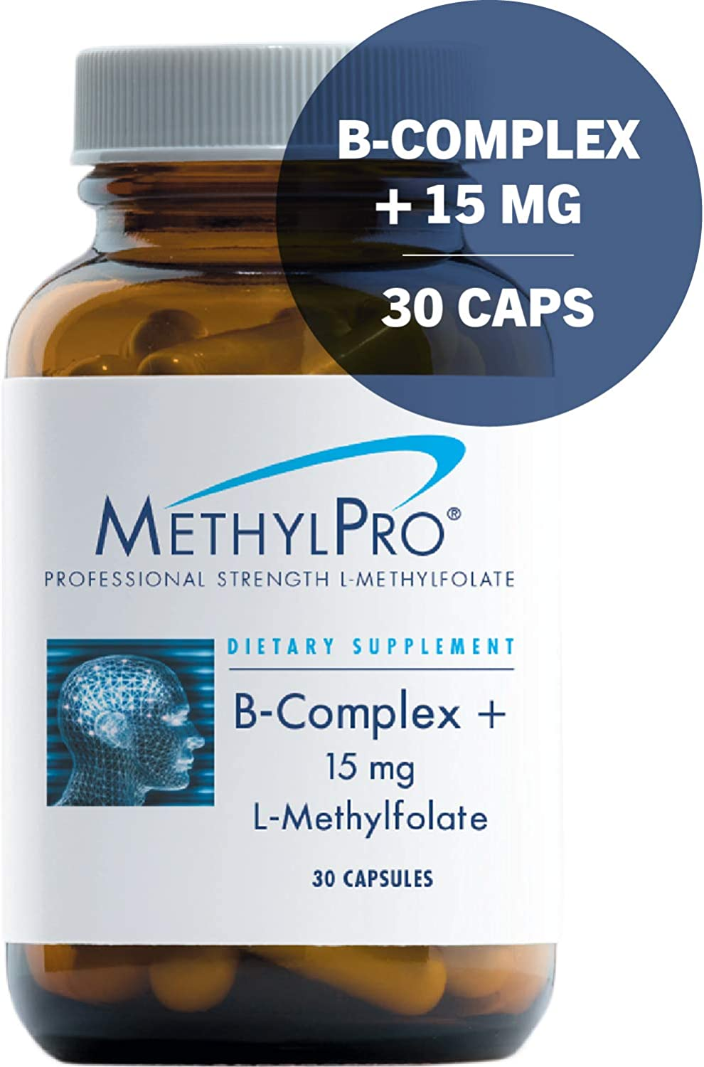MethylPro B-Complex 15mg L-Methylfolate 30 Capsules – Professional Strength Active Folate for Energy Mood Support with Methyl B12 B6 as P-5-P, Non-GMO Gluten-Free