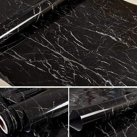 lsaiyy 3m / 5m / 10m Papel Pintado Autoadhesivo de Vinilo Impermeable Papel de Contacto de mármol Armario de Cocina Estante Cajón Forro Pegatinas de Pared Jazz Negro 60cmX3m: Amazon.es: Hogar