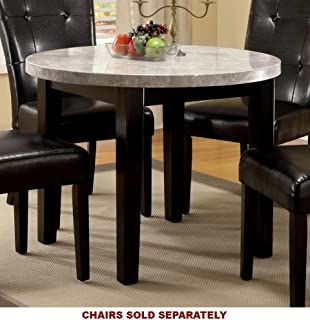 Furniture of America CM3866RT-40 Marion I Marble Top Round Dining Table & Amazon.com - Round Dining Table with Marble Top in Espresso Finish ...