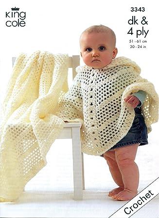 King Cole Baby Poncho & Shawl 4 Ply & DK Crochet Pattern 3343