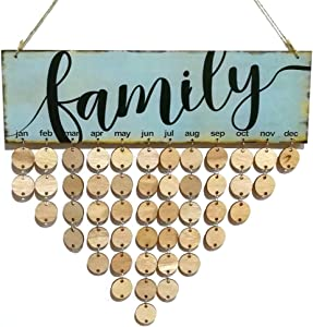 VORCOOL Family Birthday Board Hanging Plaque DIY Wooden Calendar Birthday Reminder Home Wall Decor (Colorful, 1 Plaque, 1 Rope, 50 Round Discs)