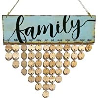 VORCOOL Family Birthday Board Hanging Plaque DIY Wooden Calendar Birthday Reminder Home Wall Decor (Colorful 1 Plaque 1 Rope 50 Round Discs)