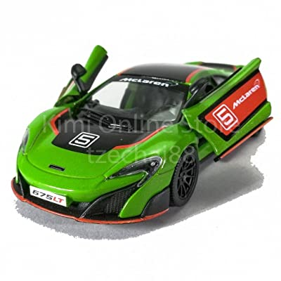 McLaren 675LT with Prints, Green w/ Decals - Kinsmart 5392DF - 1/36 Scale Diecast Model Toy Car (Brand New but NO BOX): Toys & Games