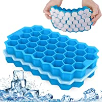Fxexblin Ice Cube Trays, 2 Pack 74 Cubes Silicone Ice Trays with Removable Lid Stackable Lattice Honeycomb Silica Gel…