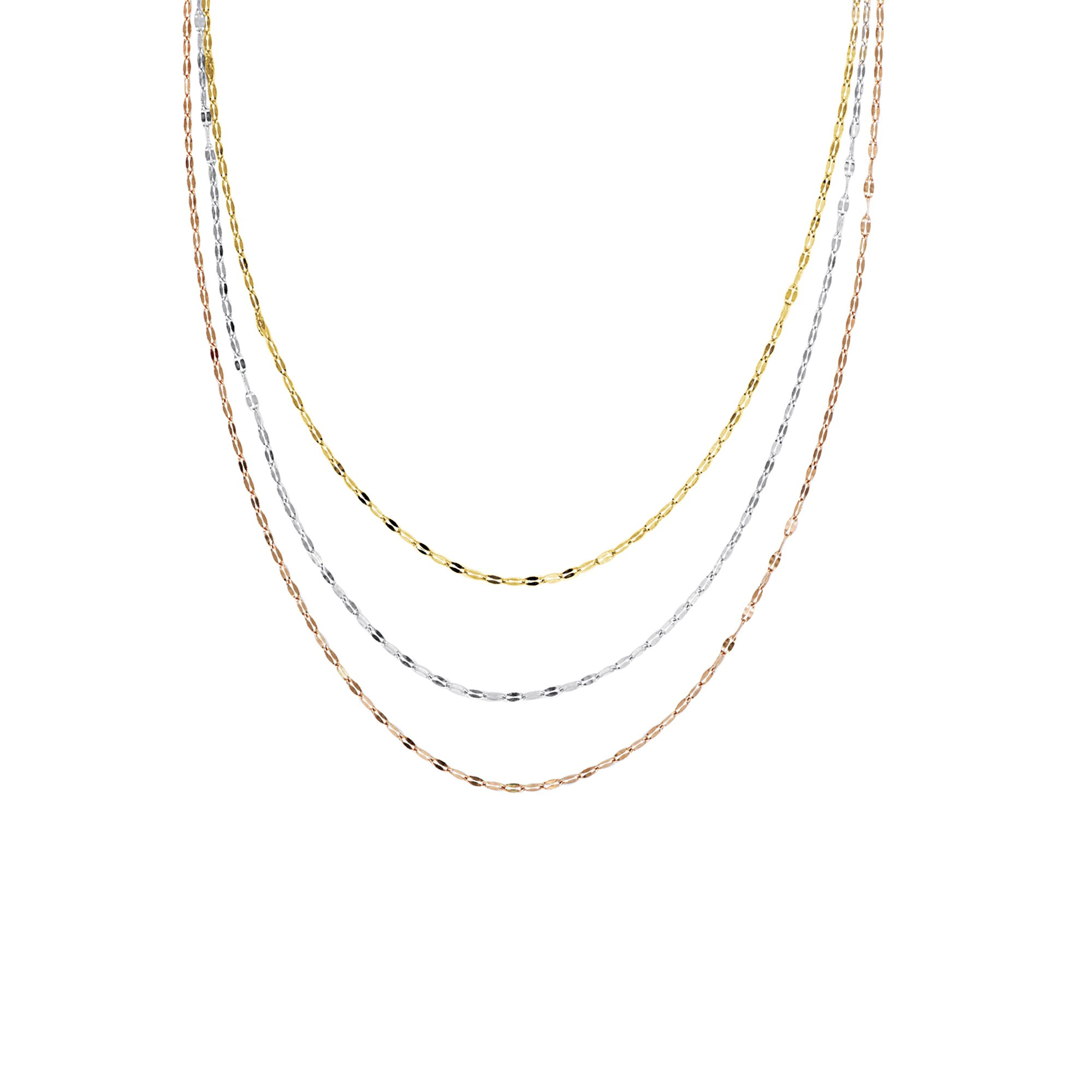 Hawley St 14k Tri-color Gold Hammered Mariner Chain Necklace