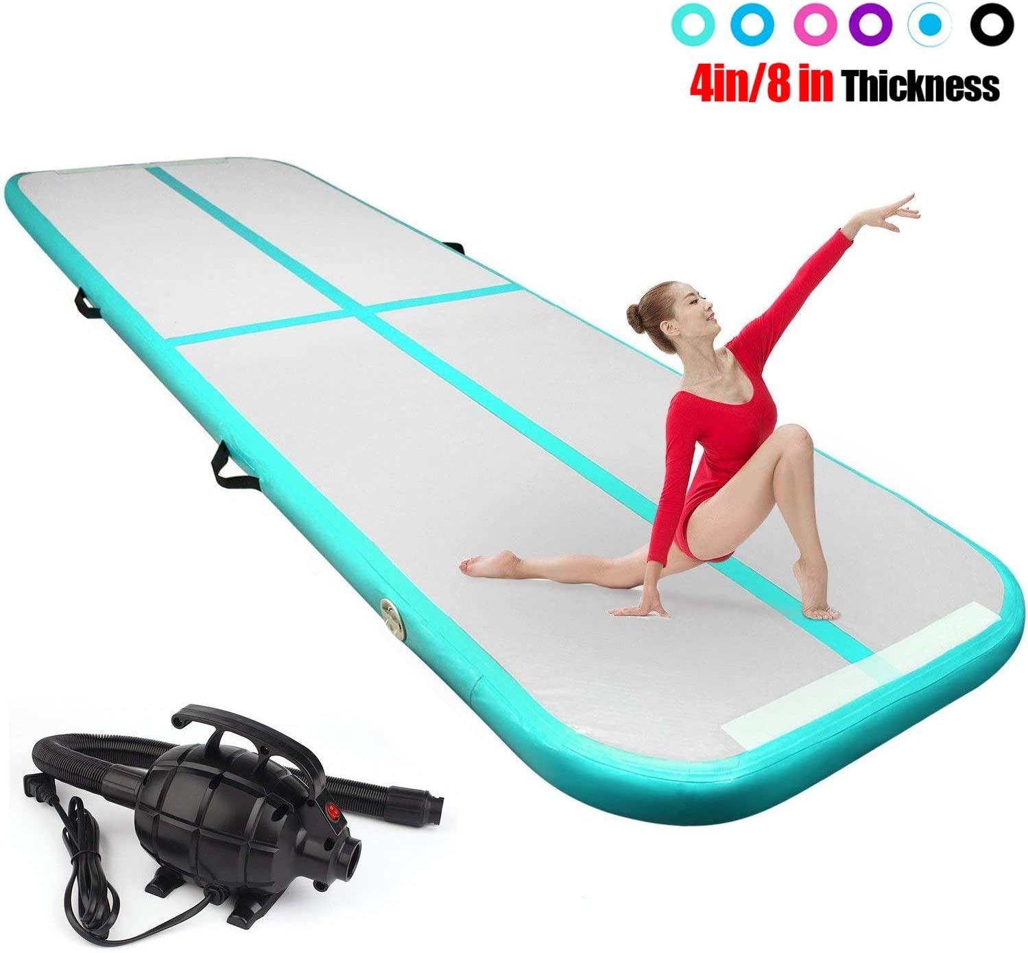FBSPORT 8inches/4 inches Thickness airtrack mat,26ft/23ft/20ft/17ft/13ft/10ft Tumble Track air mat for Gymnastics Training/Home Use/Cheerleading/Yoga/Water with Electric Pump