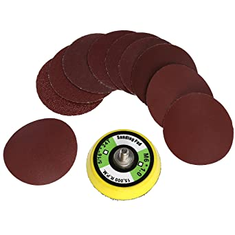 """Non-woven Abrasive Discs Hook and Loop Backed 2/"""" 50mm Mixed Grit Pack of 10"""