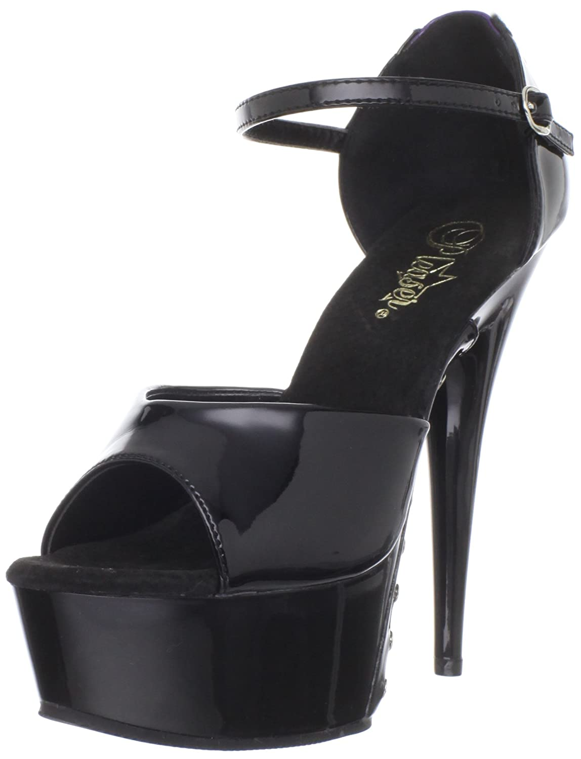 Pleaser Women's Delight-660FH Platform Sandal B0044CZ2NU 6 B(M) US|Black Purple Patent/Black
