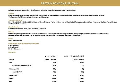 Protein Pancakes, Tortitas de proteína bajas en carbohidratos y en grasas, 600 g - de la marca de deporte profesional FSA Nutrition, fabricado en ...