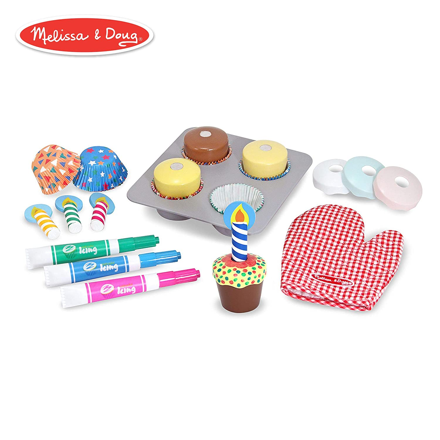 "Melissa & Doug Bake & Decorate Cupcake Set (Pretend Play, Colorful Wooden Play-Food Set, Materials, 22 Pieces, 13"" H x 10.4"" W x 3"" L)"