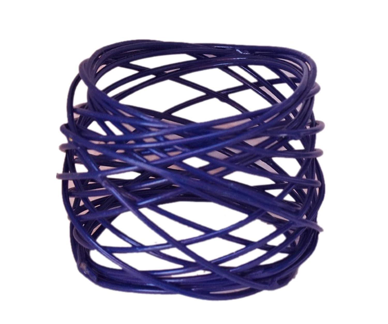 Midnight Blue, Pack of 4 Worldexplorer Handmade Round Mesh Brass Napkin Rings Holder for Dinning Table Parties Everyday