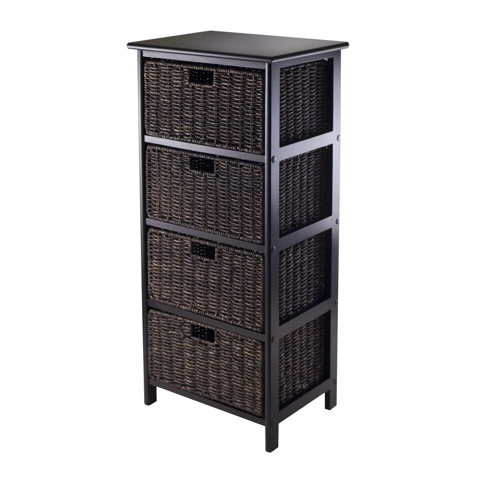 Luxury Home Omaha Brown Wood Storage Rack with 4 Foldable Baskets