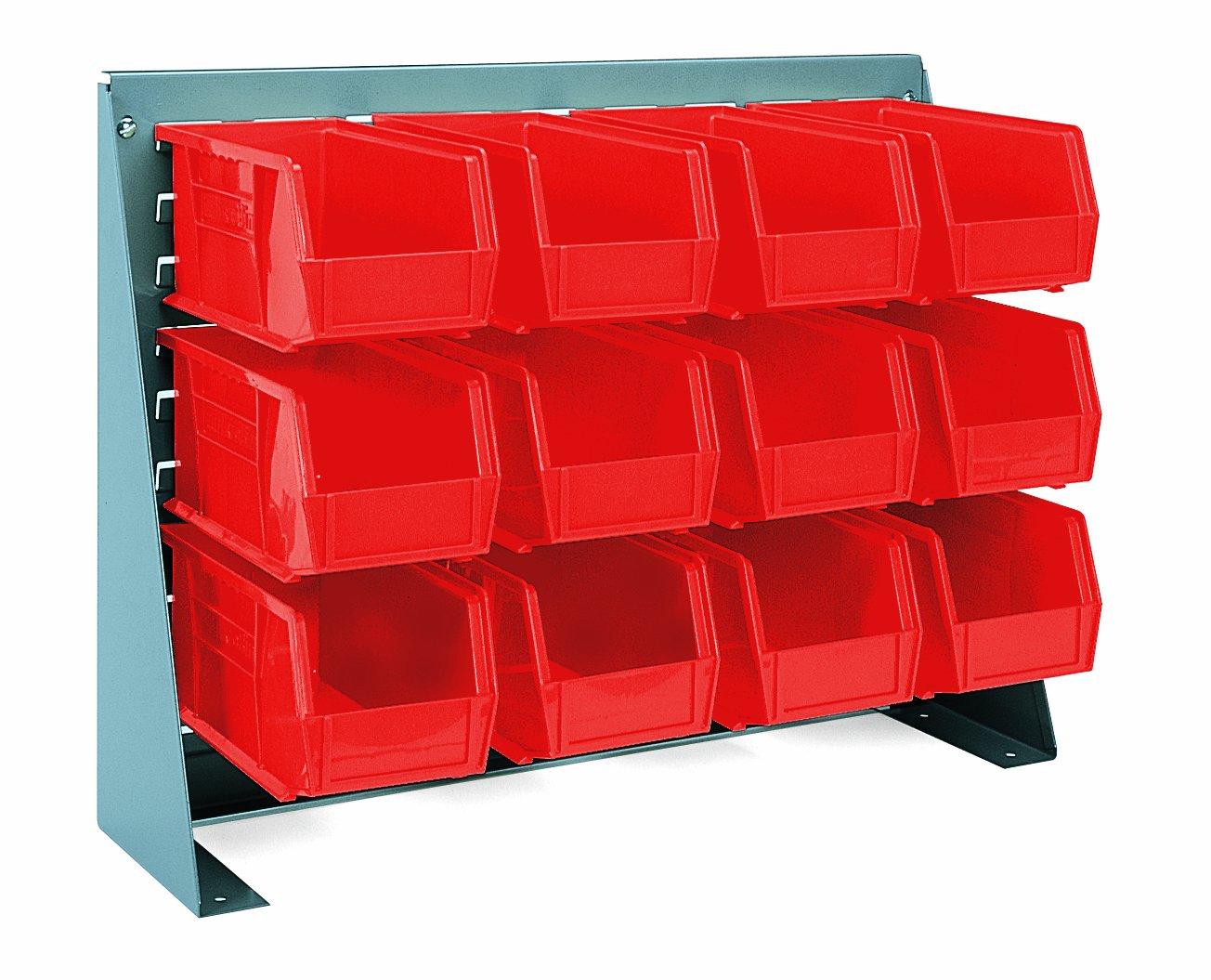 Akro-Mils 96380 Louvered Panel Work Bench Rack and Plastic Hanging Bin Set