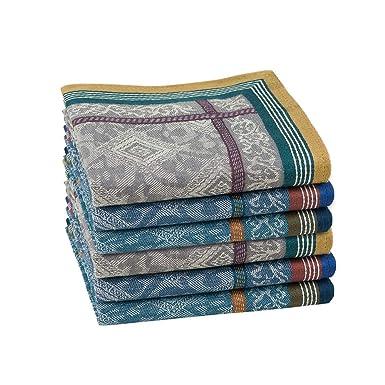 HOULIFE - Pañuelos para hombre, 100% algodón, diseño de rayas, diseño vintage, 3 unidades, 43 x 43 cm Multicolor, 6 unidades. Large: Amazon.es: Ropa y accesorios