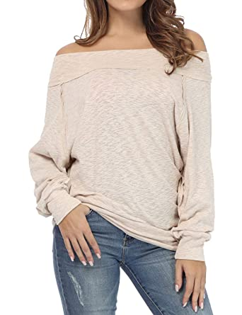 d6155efbbcf Image Unavailable. Image not available for. Color: ZJP Women Off Shoulder  Long Sleeve Solid Color Tunic ...