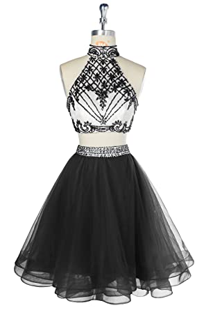 Outgoings Womens Juniors Short Prom Dress Two Piece Beaded Tulle Homecoming Party Dresses