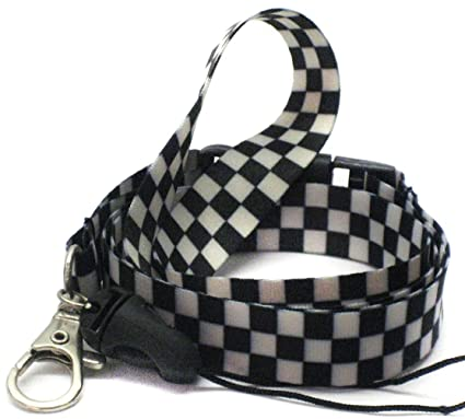 Image Unavailable. Image not available for. Color  Black And White Checkered  Lanyard 6ac914d390c96