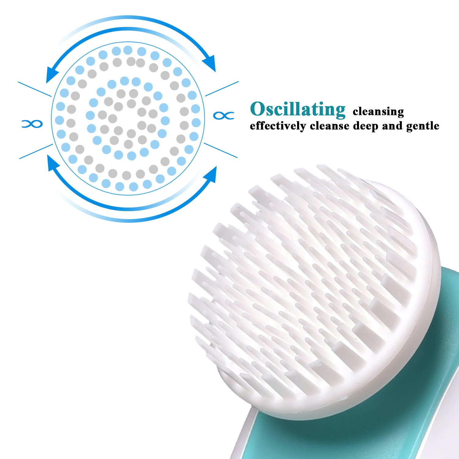 Sonic 3 in 1 Facial Cleansing Brush TANAAB - Oscillating Silicone Set Waterproof Gentle for Women & Men Unclog Pores Remove Dead Cells Blackheads Massage Rejuvenate Skin Reduce Wrinkle