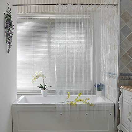Clear Shower Curtain Liner PEVA Ufriday Extra Long Bathroom Waterproof And Mildew Resistant