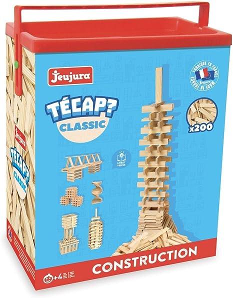 JeuJura Jouet en bois Construction Tecap Classic Baril 200 Planchettes
