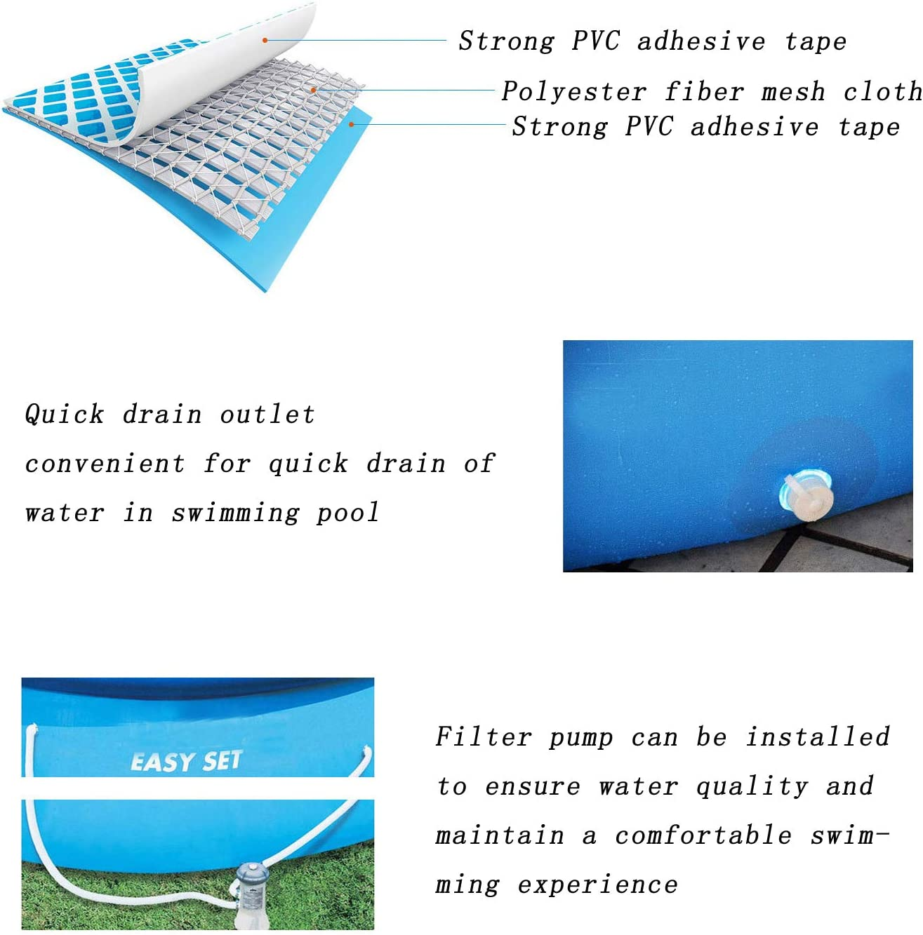 Blaunia Above Ground Swimming Pools Inflatable Pool for Adults and Kids Portable Easy Set Blow Up Pool Outdoor Backyard Pools for Family 8ft x 25in
