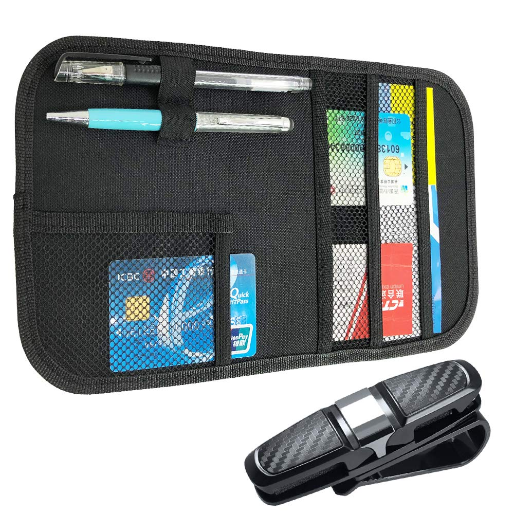 Black Car Sun Visor Organizer and Glasses Holder FineGood Auto Interior CD Card Document Holder Storage Pocket Case Accessory