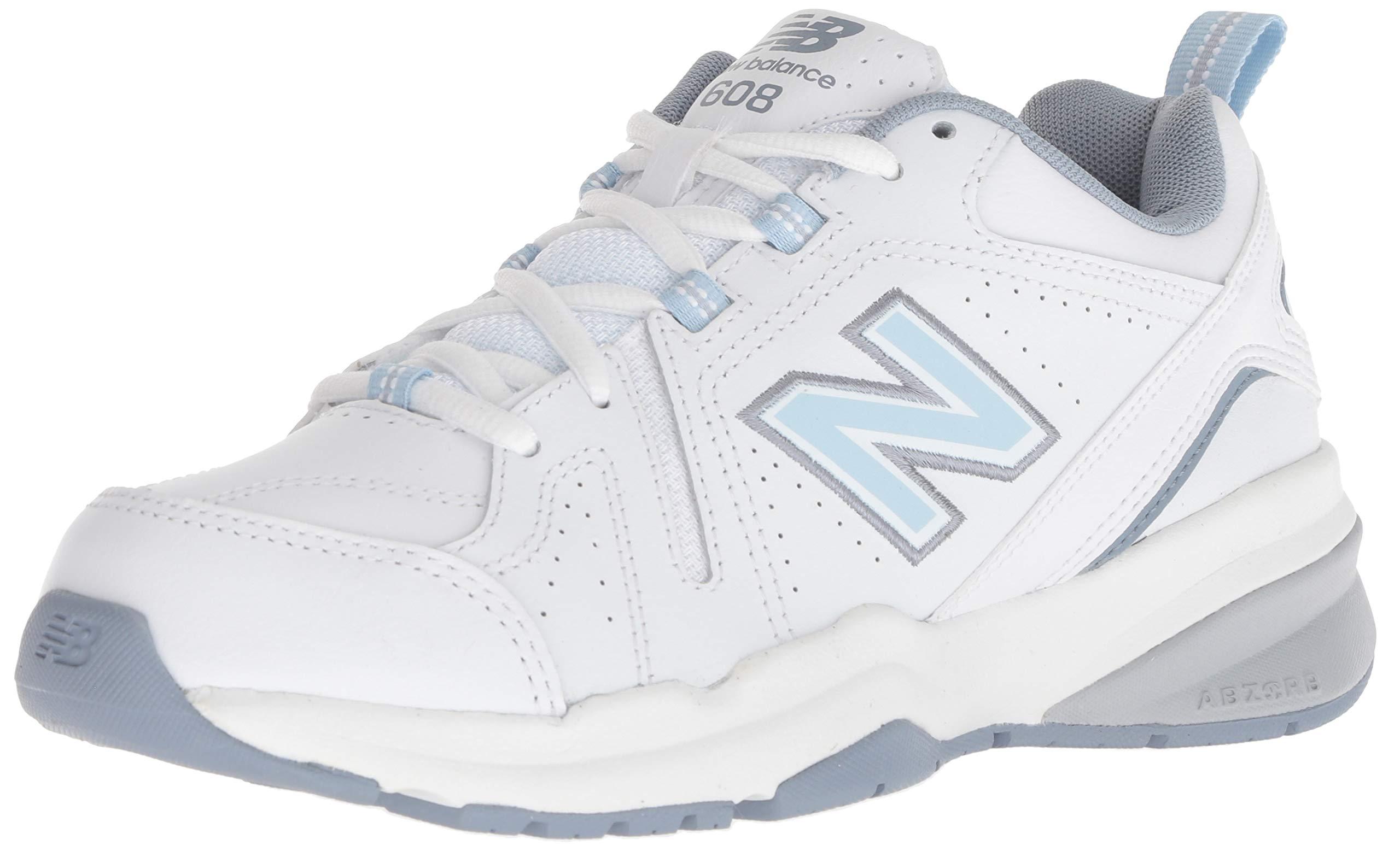 new balance Women's 608v5 Casual Comfort Cross Trainer, White/Light Blue, 9 W US by New Balance