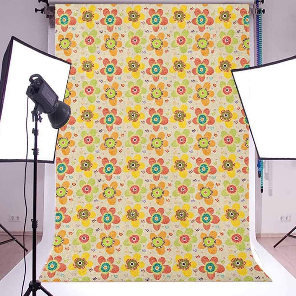 9x16 FT Colorful Vinyl Photography Backdrop,Flowers of Many Colors on Heart and Dot Filled Background Summer Illustration Background for Party Home Decor Outdoorsy Theme Shoot Props