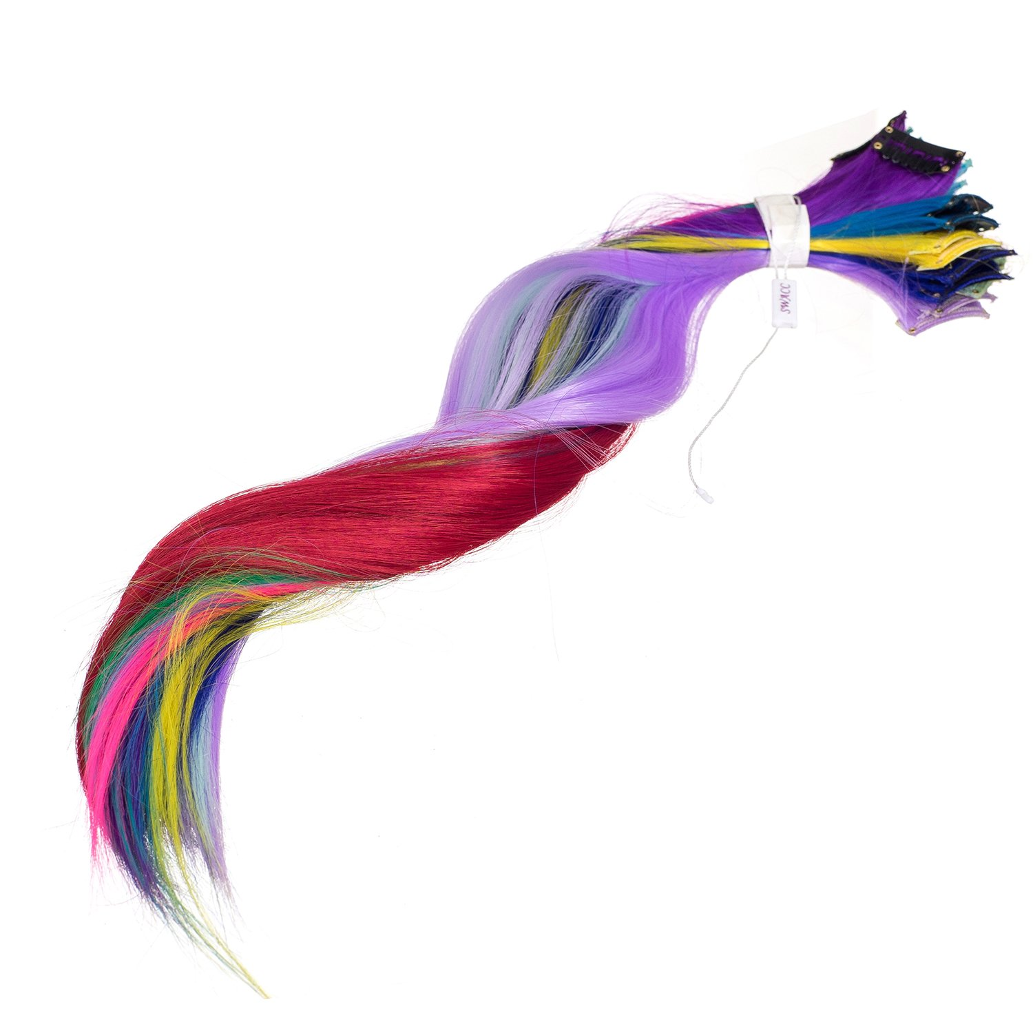 Swacc 22 Pcs Colored Party Highlights Clip On In Hair Extensions